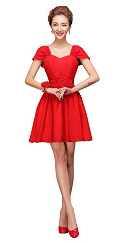 Mancherons En Mousseline De Femmes Drasawee Courte Robe De Bal Robes De Bal Junior Rouge