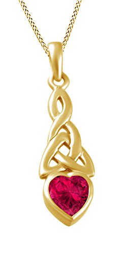 Trinity Heart Celtic Knot Pendant Necklace Simulated Ruby 14K Yellow Gold Over Sterling Silver - 14k Trinity Knot Pendant