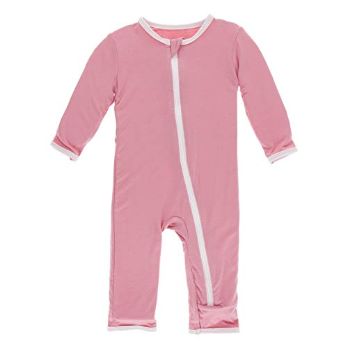 Kickee Pants Little Girls Solid Coverall with Zipper - Desert Rose with Macaroon, 9-12 Months ()