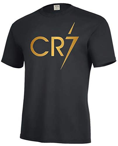 New! CR7 Cristiano Ronaldo Crest Soccer Tee for Boys (YMedium-8/10, Gold)