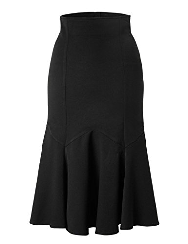 GownTown-Womens-High-Stretchy-Midi-Skirt-Wrap-Style-Pencil-Skirt