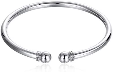 ElegantSilver 925 Sterling Silver Bangle Bracelet, Fashion Simple Open Bangles Two Bead Cuff Jewelry for Women Girls