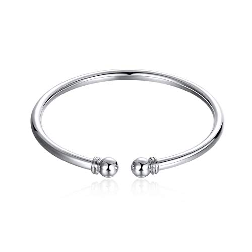 925 Sterling Silver Bangle Bracelet, Fashion Simple Open Bangles Two Bead Cuff Jewelry for Women Girls