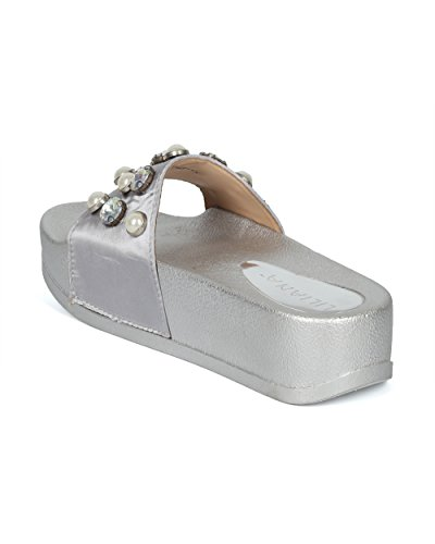 Platform Women HG26 Satin by Liliana Faux Silver Gems Satin Collection and Pearl Footbed Alrisco Slide ZHfwqx
