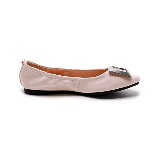 VogueZone009 Damen Rein PU Leder Ohne Absatz Rund Zehe Ziehen auf Flache Schuhe, Pink, 39
