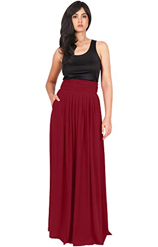 KOH KOH Womens Long Flowy Cute Modest High Waist Floor Length Pockets Maxi Skirt