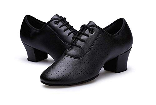 Gogodance Women Girls Professional Lace-up Black Leather Latin Salsa Tango Ballroom Modern Dance Shoes (6.5, Black)