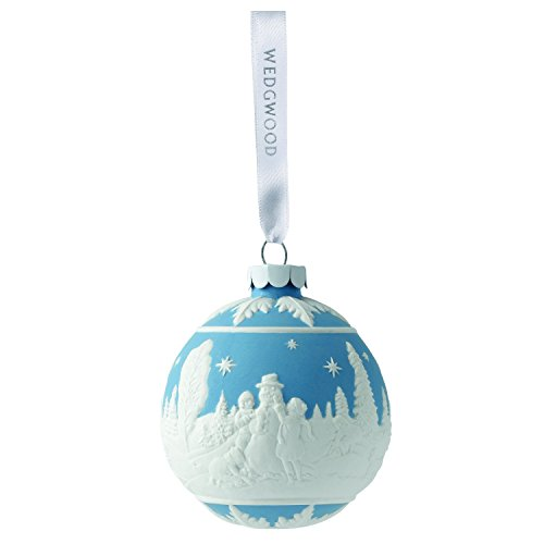 Wedgwood Building a Snowman Christmas collection, Blue (Snowman Collection Ornament)