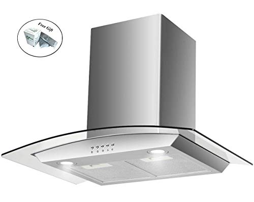 - 30'' Wall Mount Kitchen Range Hood Stainless Steel Tempered Glass w/LED Lights + FREE E - Book