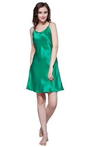 LilySilk Women's Mulberry Silk Nightgown Short Chemise 100% Pure 22 Momme Silk (XL/14-16, Green Jade)