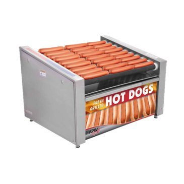 APW Wyott HR-31SBC 510 Hot Dog (Per Hour) & 100 Bun Capacity (10) Slanted Chrome Surface Rollers XPERT HotRod Hot Dog Grill With Bun Cabinet