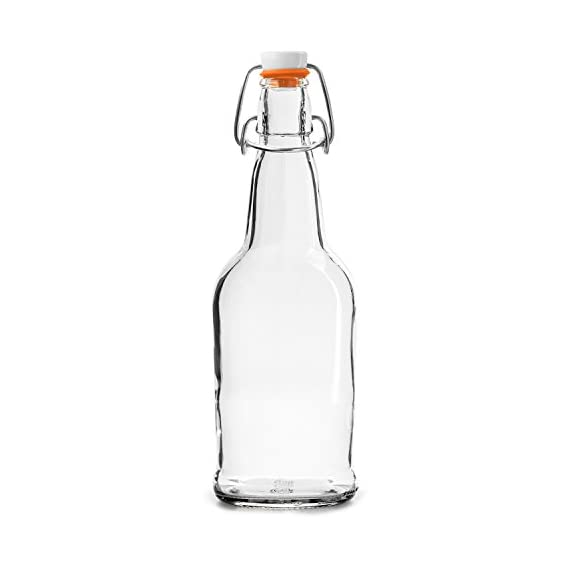 Home Brewing Glass Beer Bottle 6 Pack with Easy Wire Swing Cap & Airtight Rubber Seal with Funnel & Cleaning Brush | Clear | 16oz | by Chef's Star 3 FLIP TOP BREWING BOTTLES - The airtight bottles seal with a plastic, gasket lid and a wire bale allow for a hermetic seal, they arrive assembled and attached to the bottles. Stopper opens and closes easily. REUSABLE WATER BOTTLES - Chef's Star swing top clear glass bottle has a multipurpose uses. From serving water, tea, liquor, kefir or kombucha to storing sauces, vinegar, oil and more. Bottle brush included for easy fast cleaning. HEAVY DUTY GLASS - Each bottle can contain 16 ounces of liquid and is made from an exceptionally durable, pressure-rated amber glass for filtering light and protecting your home brew. Funnel included for easy pouring.