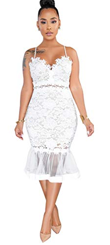Womens Sexy Sleeveless Deep V Neck Lace Mesh Paneled Ruffles Bodycon Party Clubwear Dress White