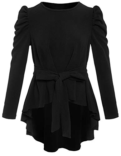 Romwe Women's Raw Hem Puff Long Sleeve Belted Flare Peplum Blouse Shirts Top Black M ()