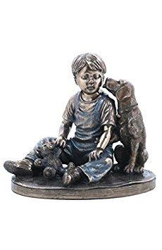 4.75 Inch Figurine Boy with Dog and Teddy Bear Burnished Bronze Hue