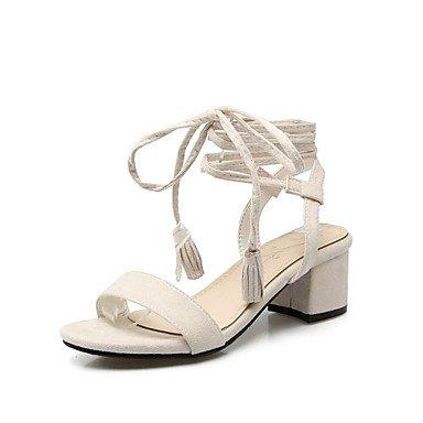 LvYuan Mujer-Tacón Robusto-Innovador Zapatos del club-Sandalias-Vestido Informal-Terciopelo-Negro Amarillo Beige Black