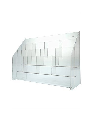 "Marketing Holders Clear Acrylic 12 Pocket, Tiered Brochure Holder for 4""W Literature, Tri-fold Brochures, and Pamphlets; Wall Mount or Counter (pack of 1)"