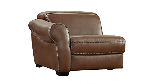 Messina Brown Leather Modular Reclining Left Arm Facing Chair (Natuzzi Italian Leather Furniture)