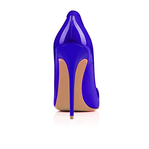 Shoes Heels High Women's on YCG Pattern Cow Flag Printing Pumps Blue Slip Butterfly fzAncR