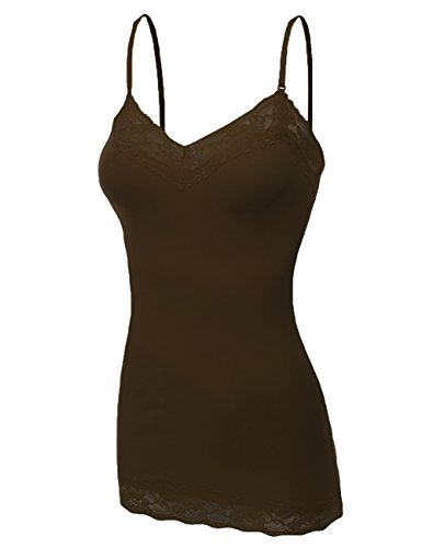 Bozzolo Women's Lace Neck Camisole Top, Large, Brown ()