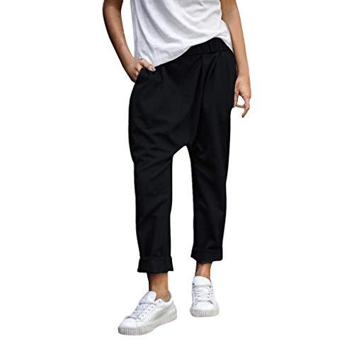 Women Harlan Pants Casual Lantern Plus Size Solid Color Loose Long Trousers Black