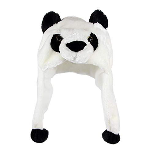 NYKKOLA Plush Faux Fur Animal Critter Hat Cap,Soft Warm Winter Headwear Fun Cute Beanie Hat Polyester Fleece Lining(Panda)