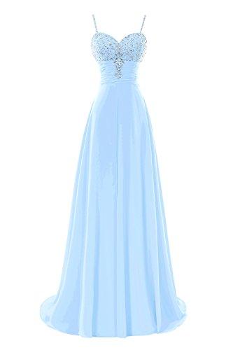 Les Robes De Soirée De Bal Longue En Mousseline De Soie Perles Bess Femmes De Mariée Bretelles Bleu Ciel