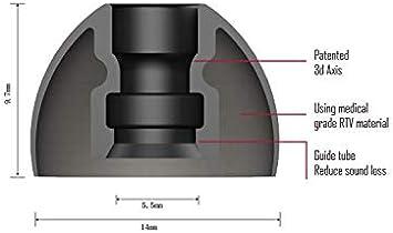 di/ámetro de boquilla de 5,5 mm 2 pares Almohadillas de silicona patentadas SpinFit CP500