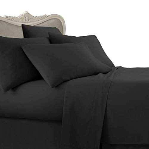 21 inches EXTRA DEEP POCKET - 1000 Thread Count Egyptian Cotton Sheet Set, 1000TC, King, Solid Black