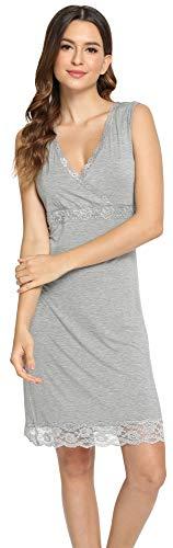 LazyCozy Women's Nightgowns Bamboo V Neck Full Lace Slip, Heather Grey, X Large