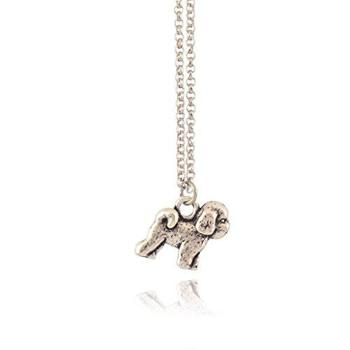 Pomeranian Pendant (In Your Dreams Pomeranian Necklace, Dainty Silver Plated Dog Pet Pendant)