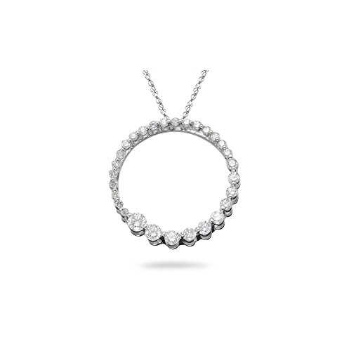 0.50-0.57 Cts SI2 - I1 clarity and I-J color Diamond Circle Journey Pendant in 14K White Gold