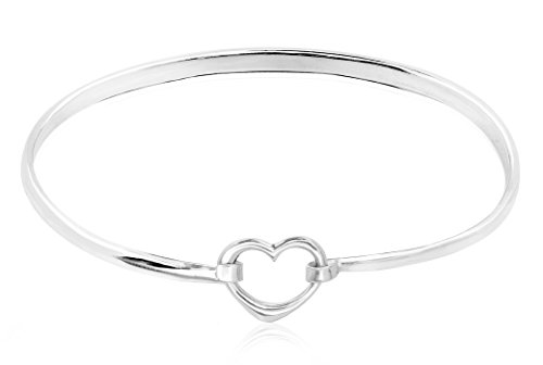 Open Bangle Heart Silver - Honolulu Jewelry Company Sterling Silver Open Heart Bangle Bracelet