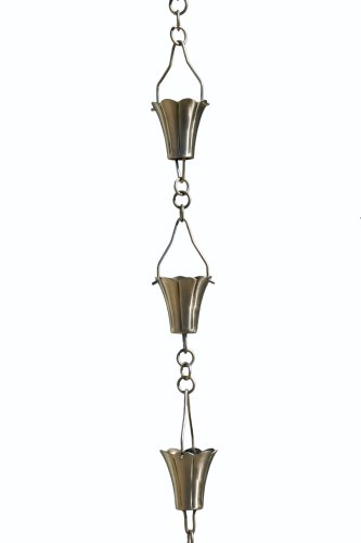 Patina Products R266 Brushed Stainless Fluted Cup Rain Chain Full -