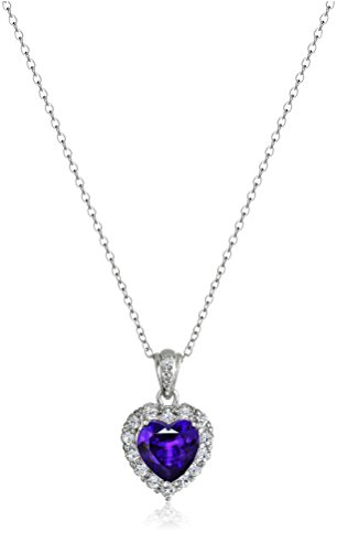 """Platinum-Plated Sterling Silver, Amethyst, and White Topaz Heart Pendant Necklace, 18"""""""