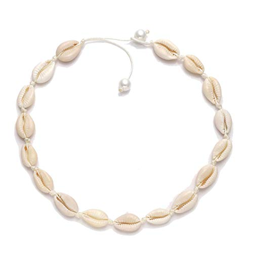 MOLOCH Natural Shell Necklaces Boho Handmade Cowrie Shell Choker Necklace Adjustable Beach Conch Jewelry for Women Girls (Pearl Buckle White)