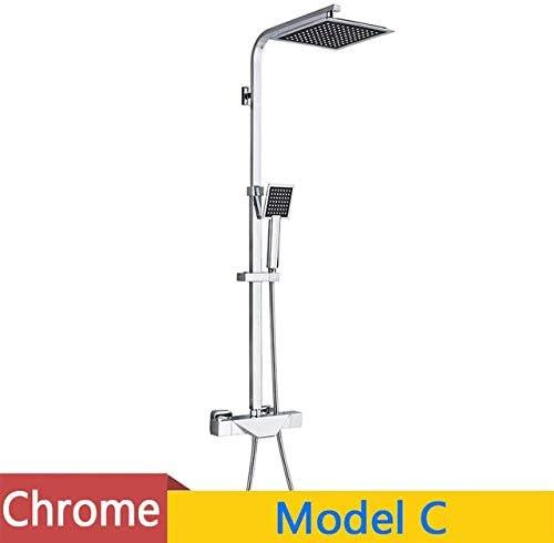 シャワーヘッド 取り付け簡単 、1蛇口Bシャワー、ミキサータップ注ぎ口黒サーモスタットの浴室のシャワー蛇口セット降雨8インチのシャワーヘッドシャワークレーンブラス浴槽シャワー (Color : Shower Faucet C, Size : 1)