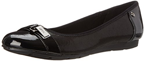 Anne Klein Sport Women's Able Fabric Ballet Flat, Black, 5 M US