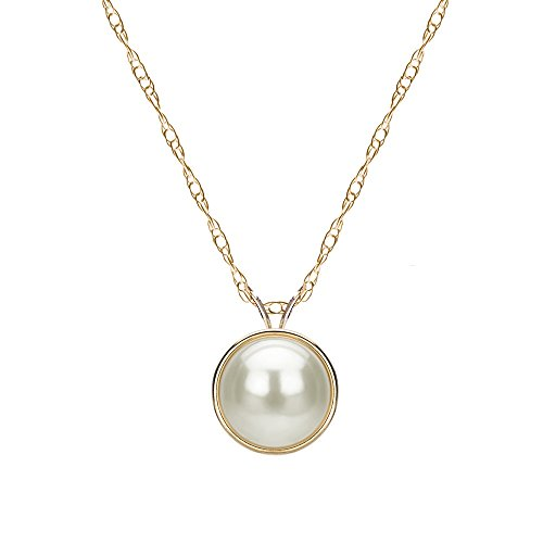 (14k Yellow Gold 9-9.5mm White Freshwater Cultured Pearl Bezel Design Pendant Necklace, 18