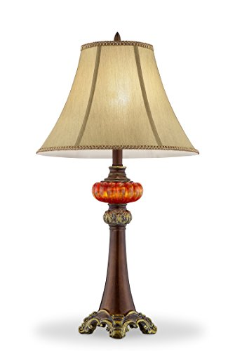 """Price comparison product image OK Lighting OK-4283T 30.50"""" H Gold Amber Table Lamp"""