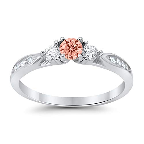 (Blue Apple Co. 3-Stone Wedding Engagement Promise Ring Simulated Morganite Cubic Zirconia 925 Sterling SilverSize-10 )