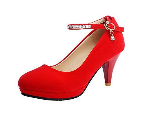 Ballet Puro Alto Tacco FBUIDD006981 Plastica Rosso Flats Fibbia AllhqFashion Donna FAwqxYn1x7