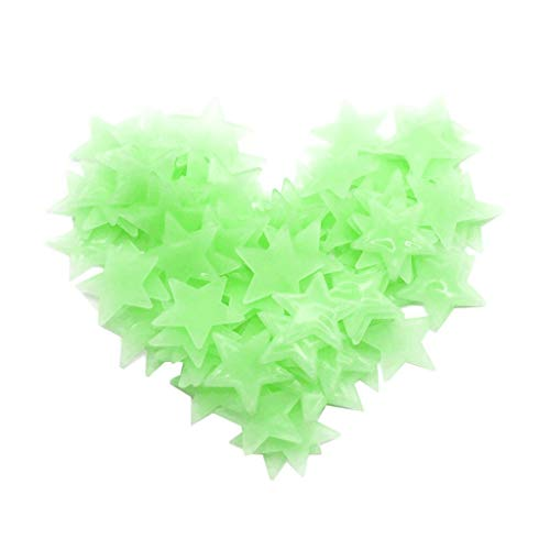 Staron Snowflake Fluorescent Glow in The Dark Wall or Ceiling Stickers - Snowflake Wall Decals Stickers Decor Kit for Kids Room Bedroom 50/100PC (Green A) (Glow In The Dark Stars Under $1)