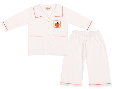 Babeeni Sleepwear for Boys featured with Long-sleeves and Hand-smocked Pumpkin Patterns suitable for Thanksgiving Occasion in White Plain Colour (12M)