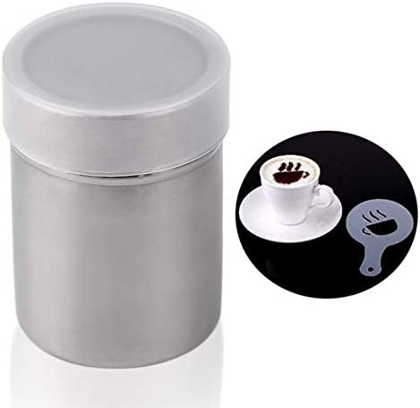 Stainless Steel Chocolate Shaker Cocoa Flour Coffee Sifter with12Pcs Coffee Stencils Template Strew Pad Duster Spray Silver