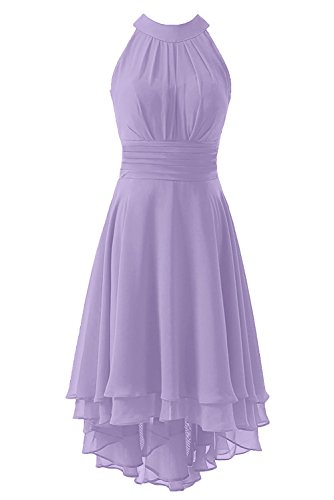 Kevins Bridal Women's High Low Short Bridesmaid Dresses Chiffon Halter Prom Dress Lavender Size 12