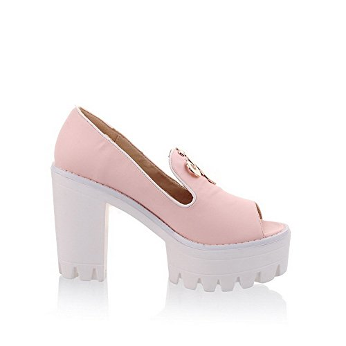 AmoonyFashion Womens Peep Toe High-Heels Soft Material Solid Pull-on Sandals Pink gq7WcmAC