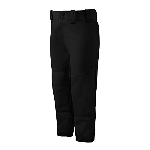 Mizuno Girls Youth Belted Low Rise Fastpitch Softball Pant, Black, Youth Large