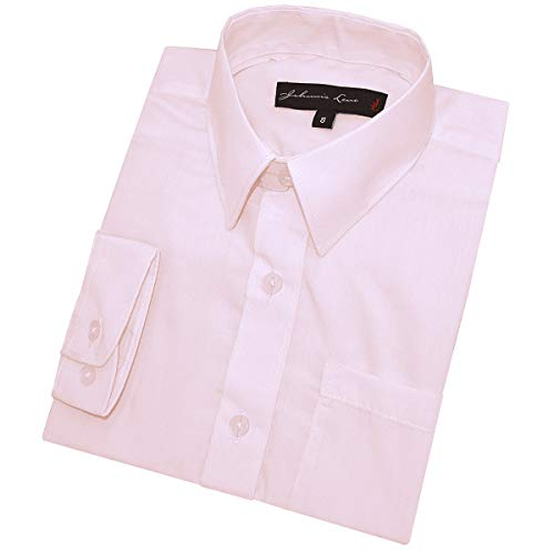 Johnnie Lene Boy's Long Sleeves Solid Dress Shirt #JL32 (12 Months, Pink)