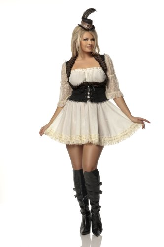 Mystery House Costumes Plus-Size Steampunk Lady, Brown/Ivory, 2X (Plus Size Steampunk Costume)